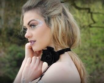 Velvet Marie Antoinette rose choker necklace