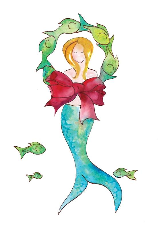 mermaid holiday card by tamara kapan mermaid art inside. Black Bedroom Furniture Sets. Home Design Ideas