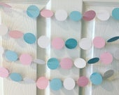 Pink and Blue Paper Garland, Baby Shower Garland, Paper Garland, Gender Reveal Party, Sprinkle Decorations, Gender Reveal Decor, Baby Shower