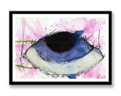 Blue eye, abstract ink and watercolour painting. Painting for Wall art or desk art. Blue, pink, green, black