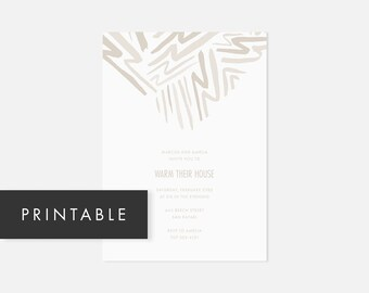 Minimalist Invitation Printable / Modern DIY Invite / Bold Pattern / Neutral Taupe / Housewarming, Birthday Party, Graduation, Bridal Shower
