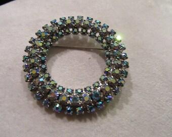 Vintage Blue Rhinestone Aurora Borealis Circle Brooch