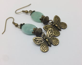 Green Aventurine gemstone antique plated butterfly charm earrings - under 10