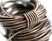 1.5mm Round Natural Leather cord - Metallic Brown Leather cord - 10 feet, LC054