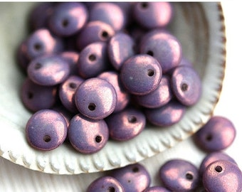 ON SALE 6mm Lentil beads, czech glass beads, top drilled, picasso beads, spacers - Purple luster - 50Pc - 1787