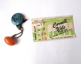 Yale- Cornell Football Ticket 1960s Vintage, Sports, Yale Football Pin, Cornell, Oct 1962, Yale Bowl