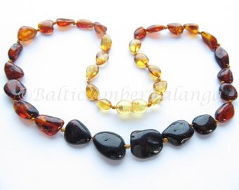 Baltic Amber Necklace, Rainbow Color Olive Beads, For Adults