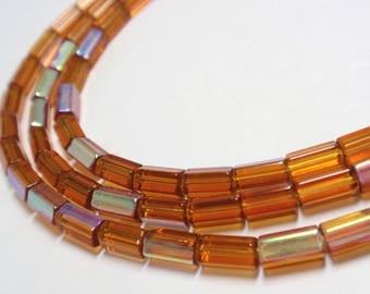 "Czech Fire Polish Bugle Beads, 6x3.5mm Burnished Orange Czech Fire Polish Beads, 8"" Strand - 32 Beads"
