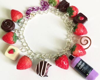 Lush inspired yummy mummy summer charm bracelet, handmade with love, polymer clay, strawberry, ooak, chocolate, food jewelry