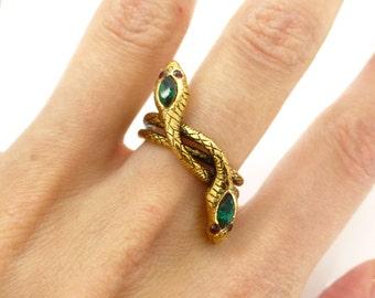 Vintage 1970s Gold Tone Snake Rhinestone Wrap Ring