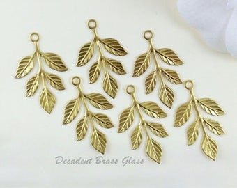 Raw Brass Leaf, Laurel Leaves, Leaf Stamping, Earring Drop, Embellishment 23mm x 37mm - 6 pcs. (r175)