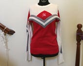 Vintage Red, White, and Grey Cheerleader Sweater