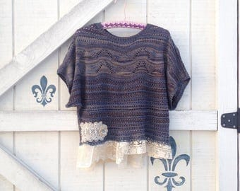 Rustic M sweater, blue bohemian hippie sweater, M lace Sweater romantic