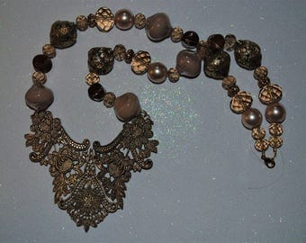 Gilded Breastplate Beaded Necklace