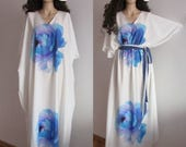 Maxi Long Dress Plus Size Clothing Muumuu Maxi Dress Maxi Loose Kaftan One Size Dress Caftan Cover up Full Length Dress White and Blue Dress