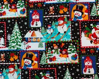 "2321  - 1 yard Hot silver Cotton  fabric - Santa Claus, snowmen, Christmas trees (135cmx91.44cm,53""x36"")"
