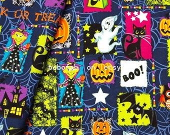 "2320  - 1 yard Hot silver Cotton  fabric - ghost,cat,bat,girl,pumpkin,owl and castle (135cmx91.44cm,53""x36"")"