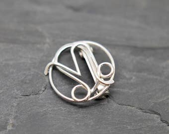 Leo Capricorn combined zodiac signs brooch sterling silver