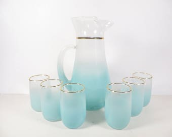 Mid Century Turquoise Blendo Pitcher and Glasses - Beautiful Faded Turquoise Aqua Glass Pitcher