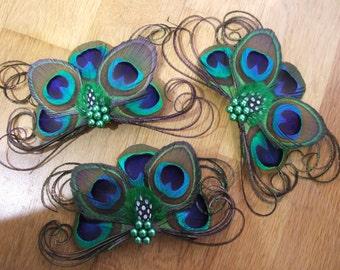 "Set of 3 x Bridal Peacock Feathers Fascinators Clips ""Una"" Bridesmaids Bride Wedding Green Party Gatsby Flapper Art Deco Woodland Barn"