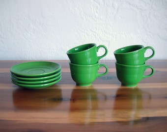 Vintage Fiestaware Shamrock Green Mugs & Saucers - 8 piece set
