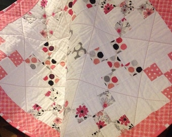 """HOLIDAY SALE A 34.5"""" X 34.5"""" Nine Patch Quilt, In The Line Called Princess By Adorn It"""