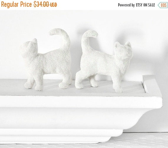 White Glitter Kitties in Florescent Snow Glitter for Winter Wedding Table Settings, Baby Showers, Nursery Decor or Centerpiece Decorations