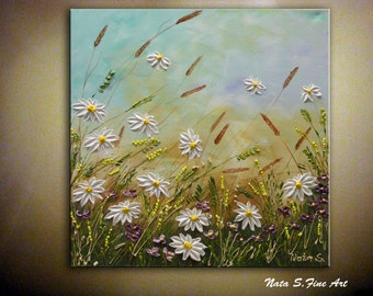"Daisy Art Original Painting Wildflower Field Abstract Daisy Textured Artwork Interior Decor Small Art Painting 18"" x 18""- by Nata S."