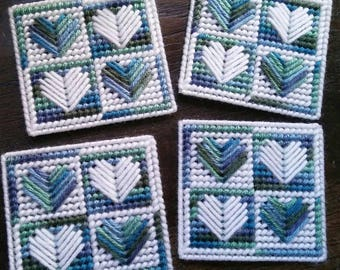 Set of 4 Plastic Canvas Quilted Heart Coasters- Ombre Blue, Green & White