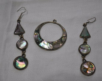Vintage Pair of Alpaca Mexico Abalone Earrings with Matching Pendant