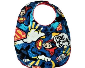 Superman Baby Bib, Superhero Bib, Geek Baby Gift, Newborn Bib, Baby Toddler Bib, Nerd Baby, Baby Boy Bib, Minky Bib, Baby Shower Gift