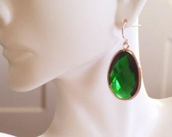 Rose Gold Earrings, Emerald Green Earrings, Green Glass Earrings, Large Glass Drop Earrings, Holiday Earrings, Statement Earrings