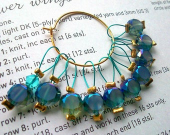 10 Knitting stitch markers Sea shades sparkles