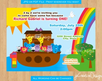 Noah's Ark birthday party Noah's Ark Invitation Noah's Ark Invite Noah's Ark Party supplies Noah's Ark 1st Birthday invitation Boy Girl