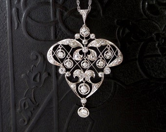 Antique Platinum Diamond Pendant. Edwardian. Belle Epoque. 1.94 Carat TW