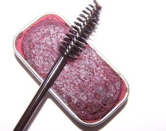 Plum Creamy Cake Mascara - Mineral Makeup - Zero Waste Vegan Mascara - Cake Eyeliner - Black Cake Mascara -Paraben Free - Cat Eyes