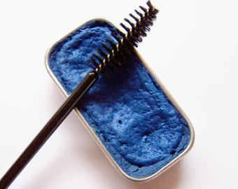 Electric Blue Cake Mascara - Mineral Makeup - Zero Waste Vegan Mascara - Cake Eyeliner - Blue Cake Mascara -Cat Eyes
