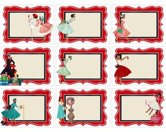 INSTANT DOWNLOAD, Retro African American Christmas Cards, Collage Sheet, Printable