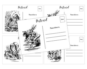 INSTANT DOWNLOAD, Alice in Wonderland Postcards, Printable, 5 x 3.5 Glamorous Sweet Events