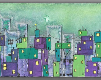 Watercolor and acrylic cityscape, details like wires, windows, clotheslines, in green, purple, blue