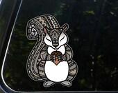 CLR:CAR - Squirrel - Patterned Design Squirrel - Vinyl Car Decal - Copyright ©2016 Yadda-Yadda Design Co. (Size Choices)