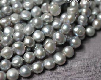 Pebble pearl Large Hole pearl Freshwater Pearl Baroque pearl Loose pearl Baroque pearl necklace 10.5-11mm gray 36pcs Full Strand PL3159