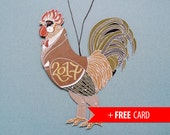 Rooster articulated paper doll Cock puppet handmade greeting card  2017 new year present coworker gift for boss calendar birthday horoscope