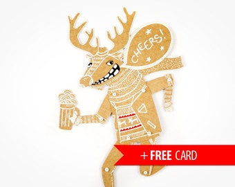 Deer with Beer articulated paper doll drunk Rudolph free handmade greeting card funny puppet christmas gift new year present santas helper