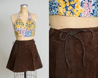 70s Leather Mini Skirt Bohemian Wrap Style Hippie Skirt