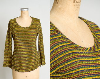 70s Rainbow Stripe Bell Sleeve Wide Scoop Neck Colorful Long Sleeve T Shirt
