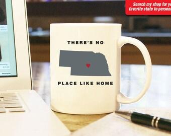 Nebraska NB Coffee Mug Cup, No Place Like Home, Gift Present, Wedding Anniversary, Personalized Color, Custom Location Omaha, Lincoln