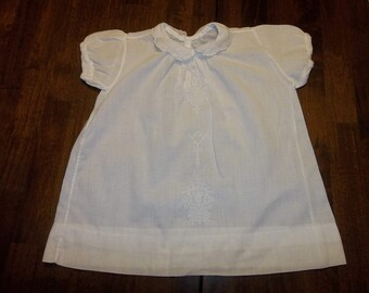 Victorian  Baby Dress ...Emroidered ....Cotton Organdy...Baptism...Good Condition...Bears...Dolls..Free Shipping