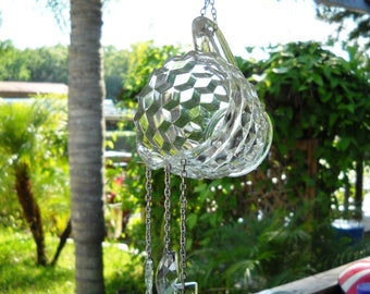 Pitcher This 1930s Depression Glass Jeannette Cubist Creamer Wind Chime, Recycled Stained Glass Windchime, Glass Yard Art, AAOK Garden Decor