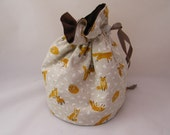 Fox Project Bag. Small Drawstring bag ideal for knitting or crochet projects